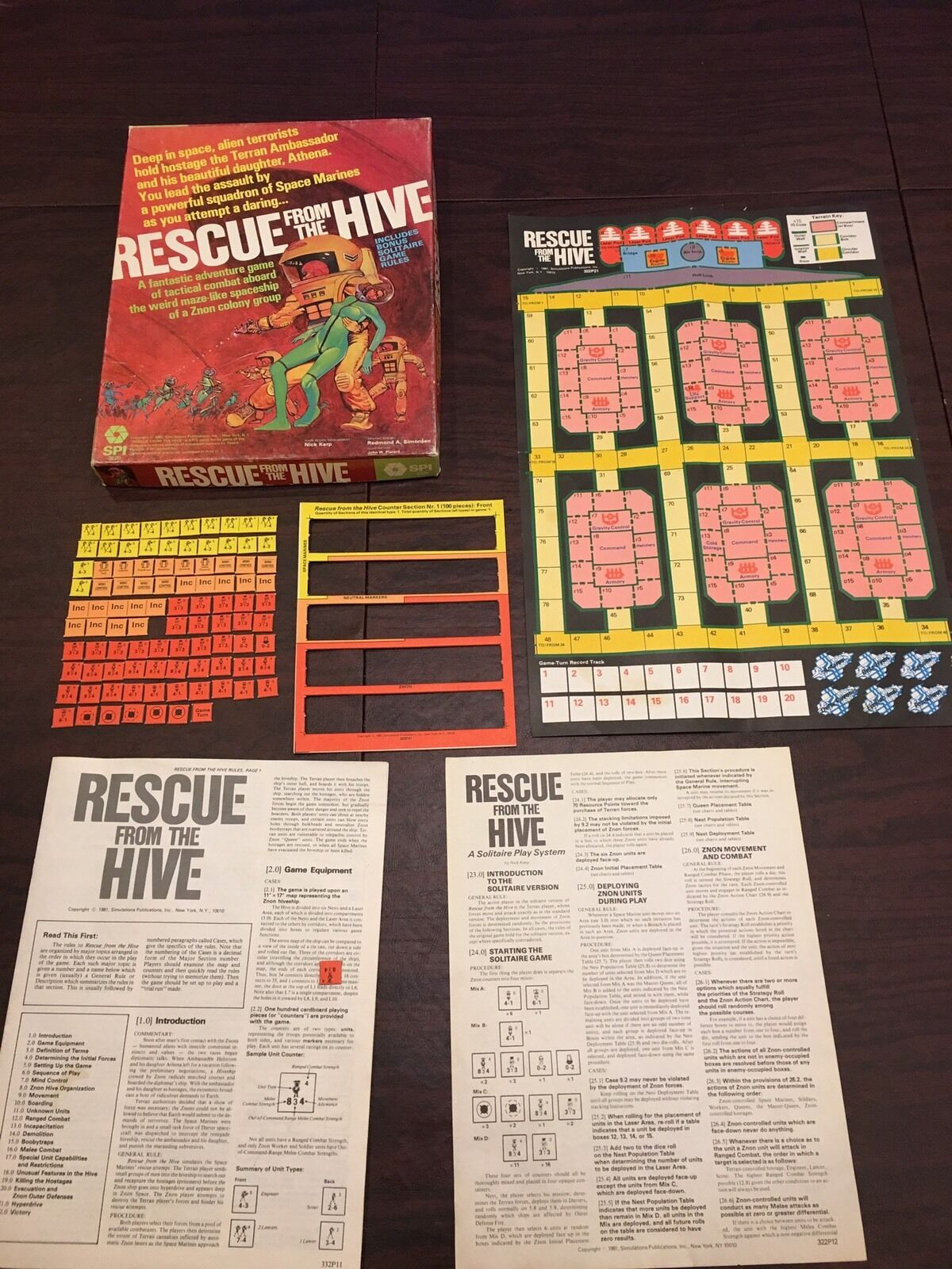 RESCUE FROM THE HIVE by SPI Game Vintage 1981 Adventure Game Alien Space
