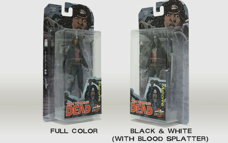 Sdcc 2018 Walking Dead los fanáticos Michonne Figuras Exclusivo Negro & Blanco sangrienta y Color