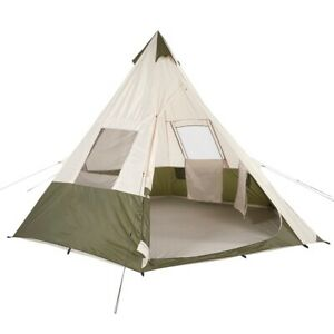 huge discount 99753 cd87a Details about Teepee Style Tent 7 Person 3 Season Camping Tents Outdoor  Festival Pow Wow Ozark