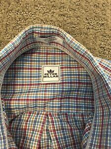 Peter-Millar-Mens-Sz-Medium-Button-Down-Long-Sleeve-Dress-Shirt-Multicolor-Plaid
