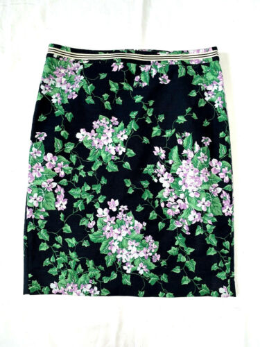 TALBOTS Womens 12 Navy Lilac Floral Print Straight