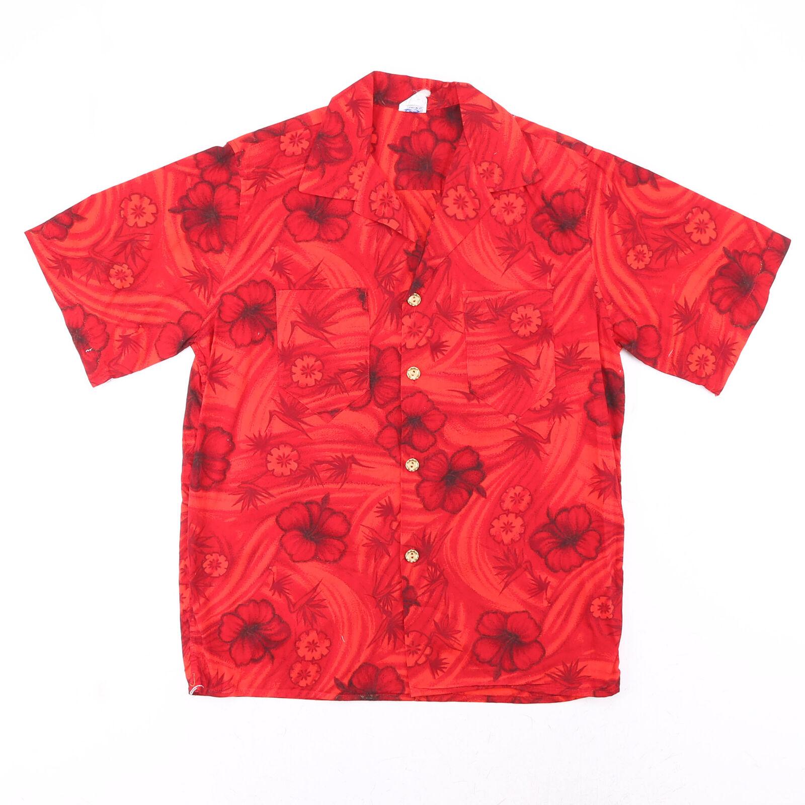 Vintage LA ROSA Red 90s Short Sleeve Crazy Print Shirt Mens M