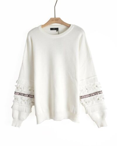 Multi floral sequin crystal Stone diamond embellished Sleeves knitted jumper