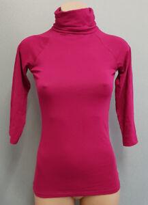 BNWT-Womens-Sz-L-12-Smart-Zara-Brand-Burgundy-3-4-Sleeve-Roll-Neck-Stretch-Top
