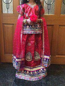34-Age-9-11-Lahenga-Choli-Indian-Bollywood-Kids-Dress-Girl-Skirt-Burgundy-Maroon
