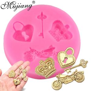 Crown Heart Lock Key Set Silicone Mold Cupcake Topper Fondant Cake Decorating Gu
