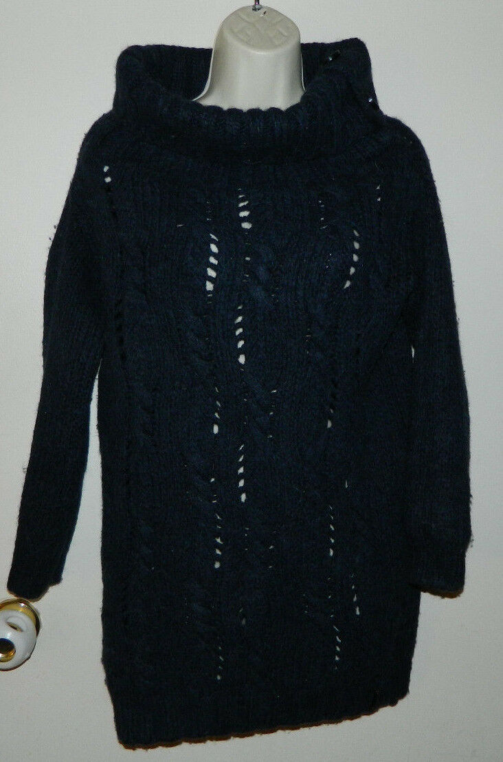 Women Wool Sisley 3 4 Sleeve Navy bluee Casual Sweaters Size S Made In