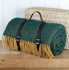 Details About Tweedmill Picnic Rug Waterproof Herringbone Polo Emerald Lemon Wool Web Strap