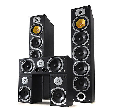 Sistema 5 Casse Altoparlanti Surround Home Theatre Hi Fi 1240W Woofer Design