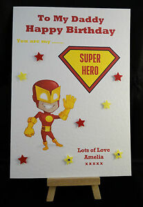 Image Is Loading Personalised Handmade Superhero Happy Birthday Card Daddy Dad