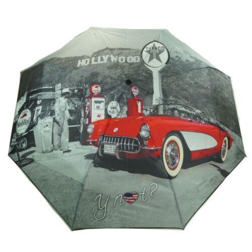 Y Not Super Mini City Hollywood Grau-Rot 55545 Damen Regenschirm Taschenschirm