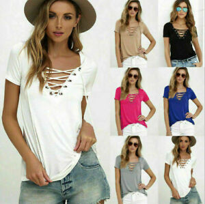 Sexy-Fashion-Women-V-Neck-Short-Sleeve-T-shirt-Casual-Loose-Blouse-Tops-Tee