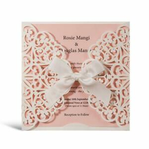 Details About Personalized Blush Laser Cut Quinceanera Wedding Invitation Card With Envelope