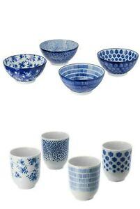 Nuevo Juego De Tazas entusiasm Tazón de fuente Ikea Estampada Azul 4 Paquete De Porcelana De Vidrio Taza de la cena