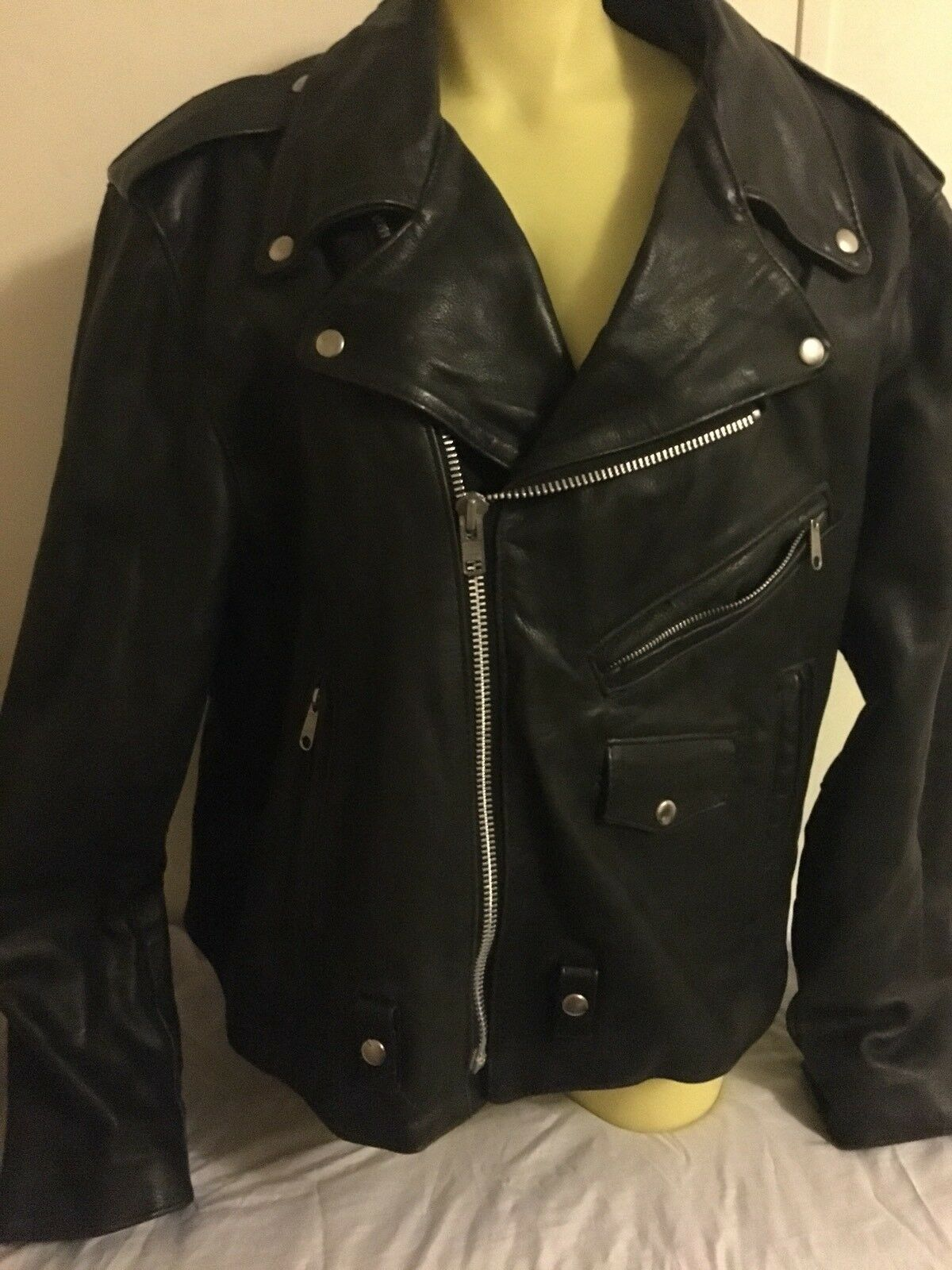 Mens Leather Biker Coat Size Xl