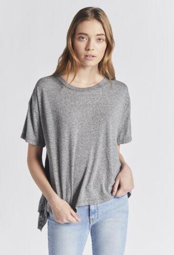 IRR 128$ CURRENT//ELLIOTT The Side Slit Ruffle Tee jersey knit Gray *0,1,2,3