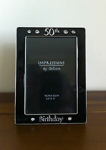 Happy 50th Birthday Photo Framegift 35 X 3 Black Enamel Small