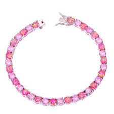 """Pink Fire Opal Pink Topaz Women Jewelry Gemstone Silver Bracelet 7 5/8"""" OS376"""