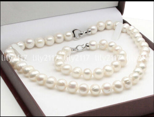 Beautiful Natural 10-11mm South Sea White Pearl beads Necklace Bracelet set 18/'/'