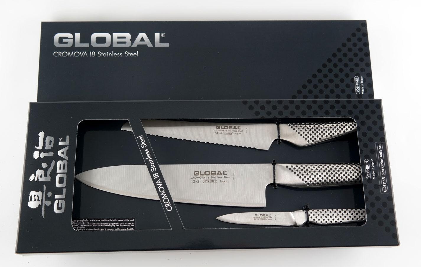 GLOBAL Kochmesser    3er Set - 20cm 16cm 8cm Klinge in Geschenkbox G-26115R     | Haltbar  6c39e4