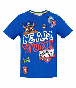 NEW Genuine Licensed Boys Paw Patrol Blue Summer T-Shirt Sizes 2 /& 5