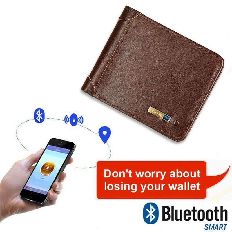 Living Wallet RFID Genuine Leather With Alarm GPS MAP Bluetooth Alarm Mens Purse