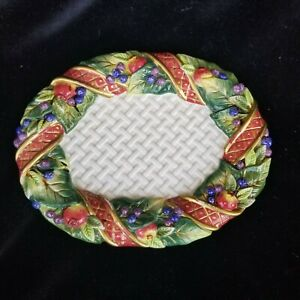 """Fitz And Floyd Holiday Swan Oval Serving Platter 9 """"x 7"""" Mint Fruit Ribbons 2000"""