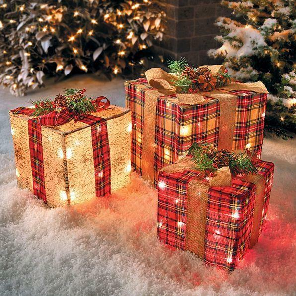 set of 3 outdoor lighted christmas gifts presents rustic plaid birch yard decor - Outdoor Lighted Presents Christmas Decorations