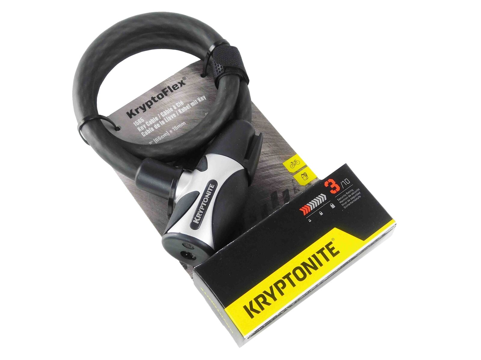 KRYPTONITE KRYPTOFLEX 1565 COMBO COMBINATION BIKE BICYCLE CABLE LOCK 15MM X 2 FT