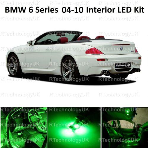 GREEN PREMIUM BMW 6 SERIES E63 E64 2004-2010 INTERIOR FULL KIT SET BULBS XENON