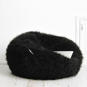 Image Is Loading SHAGGY FUR BEANBAG Cover Soft Black Bedroom Plush