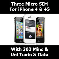 300 Mins Unlimited Text & 12GB On Three Micro Pay N You Go Sim Card For iPhone 4