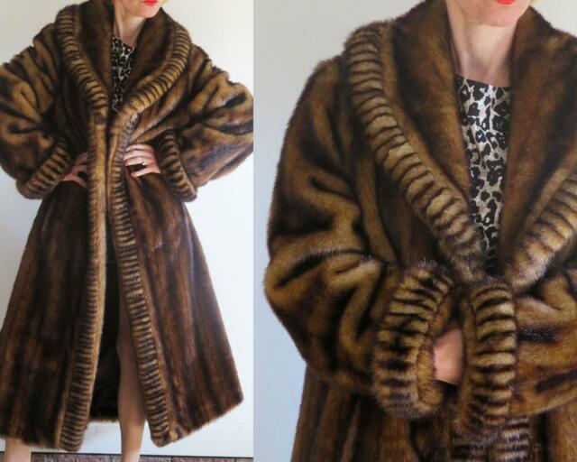 TERRY LEWIS CLASSIC LUXURIES Tiger Mills BROWN FAUX MINK FAUX FUR COAT M