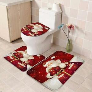 3pcs-Badematte-Weihnachten-Duschvorhang-Teppich-Vorleger-Deckel-WC-Garnitur-W8X7
