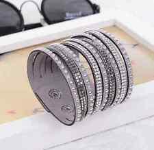 Vintage Wrap Bracelet Bangle Cuff Crystal Rhinestone Leather Punk Wristband