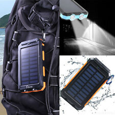 IMPERMEABILE 300000mAh Power Bank Dual USB Portatile Esterno Caricabatterie Solare