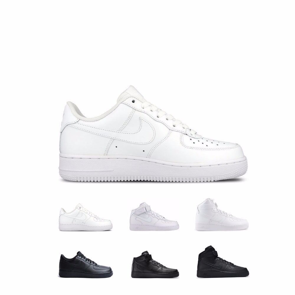 Nike Air Force 1 '07 Low Mid High White White & Black Black shoes Men's GS Kids
