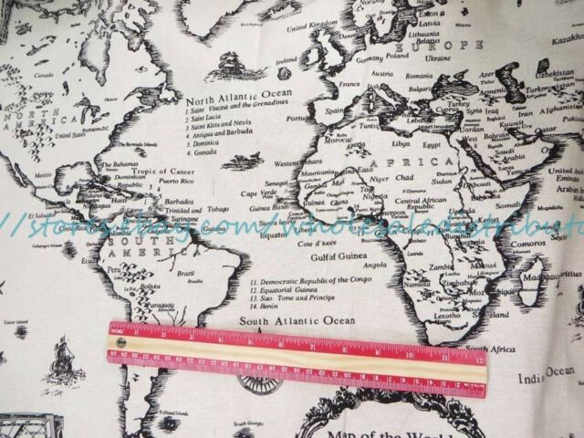 Us seller 1 yard vintage retro world map 59 wide cotton linen us seller 1 yard vintage retro world map 59 wide cotton linen sewing fabric gumiabroncs Gallery