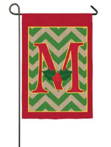 "Christmas Monogram ""M""-Garden Flag-Evergreen-Burlap Appliquéd-12.5""x18"""