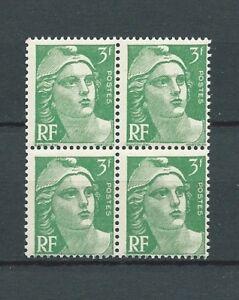 MARIANNE-DE-GANDON-1945-YT-716A-bloc-de-4-3-f-vert-NEUFS-MNH-LUXE