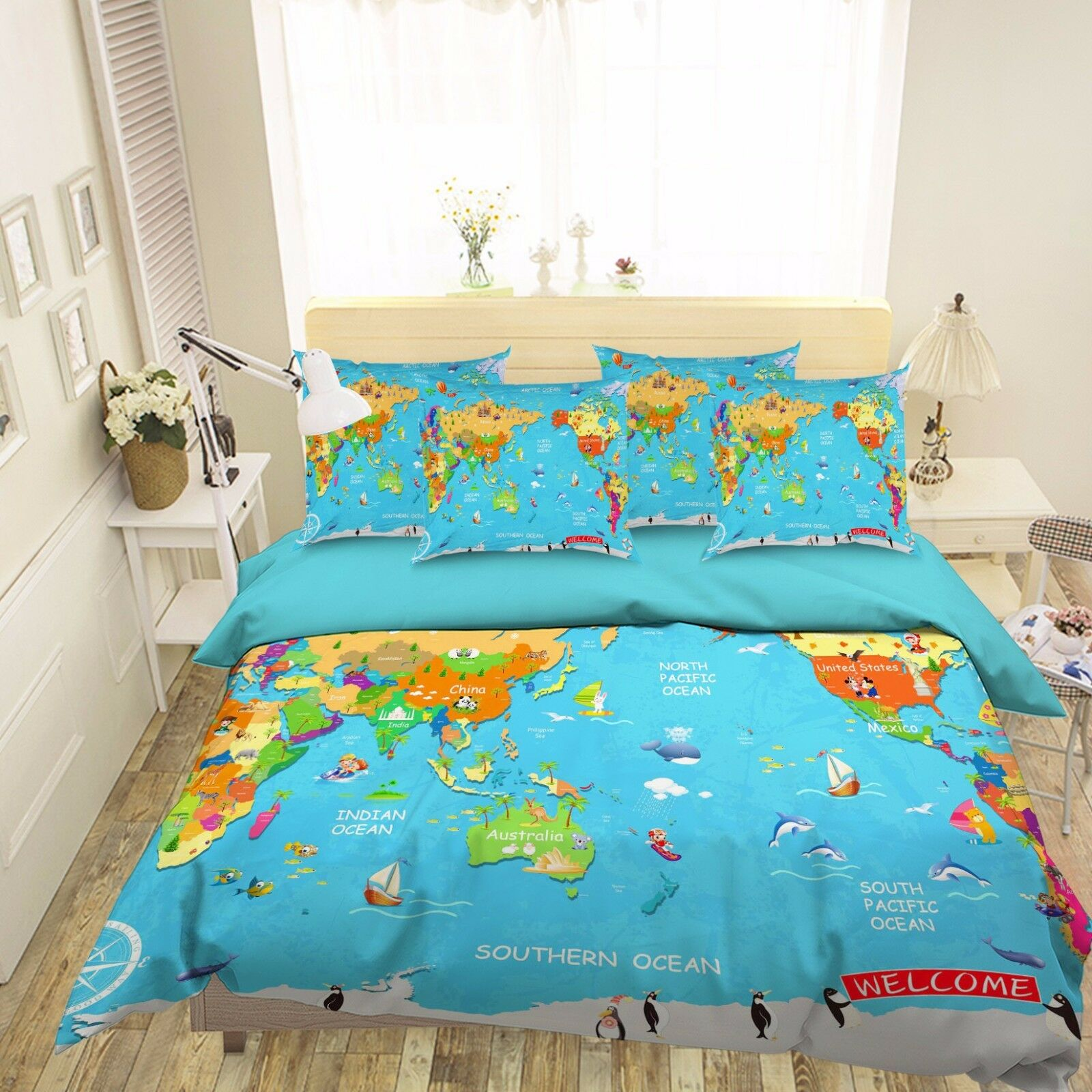 3D World Map 237 Bed Pillowcases Quilt Duvet Cover Set Single Queen King Size AU