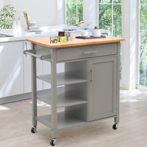 Details About Modern Kitchen Storage Trolley Cabinet Cart Drawers And Shelf Grey Lockable Roll