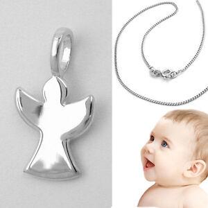 36 cm Silber Kette Baby Kinder Schutz Engel Kreuz Anhänger Echt Weiß Gold 333