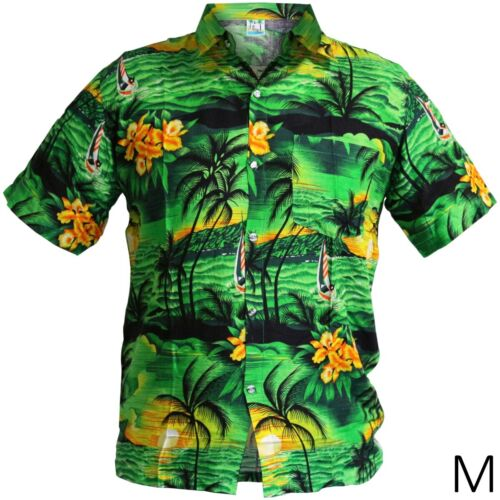 Medium GREEN HAWAIIAN SHIRT Short Sleeve Beach Pool Party Aloha Tiki Fancy Dress