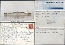 GB SHIP LETTER TELEGRAM 1948 + PPC FORCES MAIL HMT GEORGIC