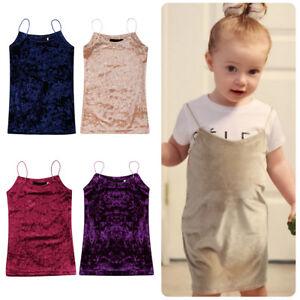 491466c75be Toddler Baby Kids Girls Velvet Sleeveless Vest Top Spaghetti Strap ...