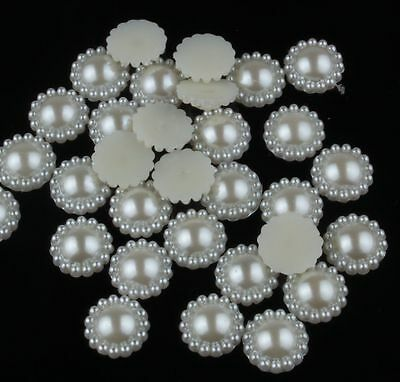 DIY 50PCS 9MM beige Half Acrylic Pearl Bead flower Scrapbook for Craft Flatback