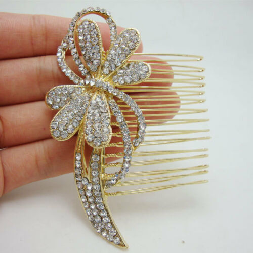 Bridal Wedding Hair accessories Bridal Hair Comb Gold Butterfly Flower Crystal