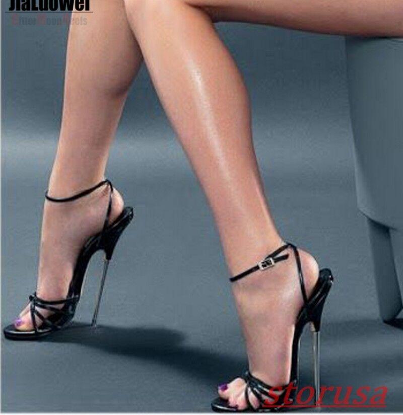 Zapatos de de de Tacón Alto Puntera abierta para mujer Super 18cm de tacón alto Correa De Tobillo Sandalias Plus Sz Club nocturno  precios razonables
