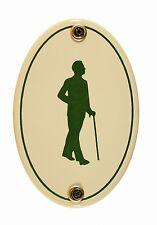 Emaille Türschild Piktogramm Herren oval 7x10 cm Schild Emailleschild WC Toilett